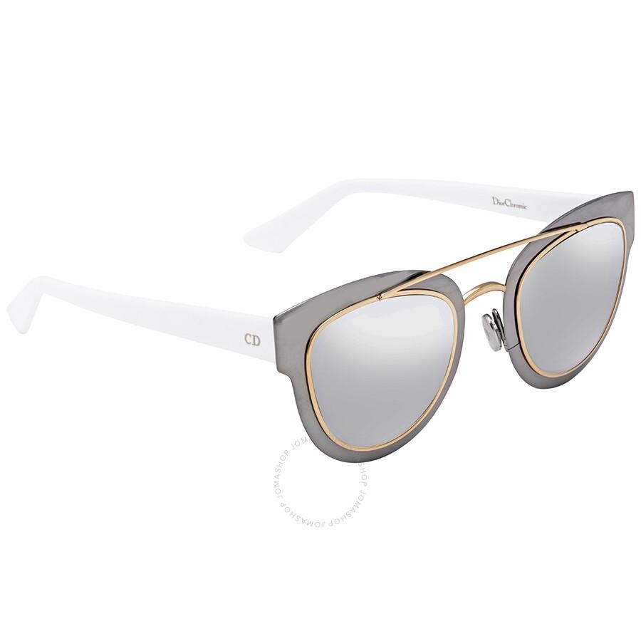 97220a14c4425 Dior Chromic Light Grey Silver Mirror Cat Eye Ladies Sunglasses DIORCHROMIC  LMJ 96 47 ...