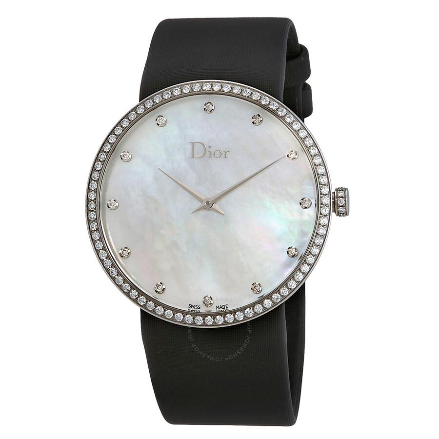 Dior La D De Dior Mother Of Pearl Dial Black Satin Strap Ladies