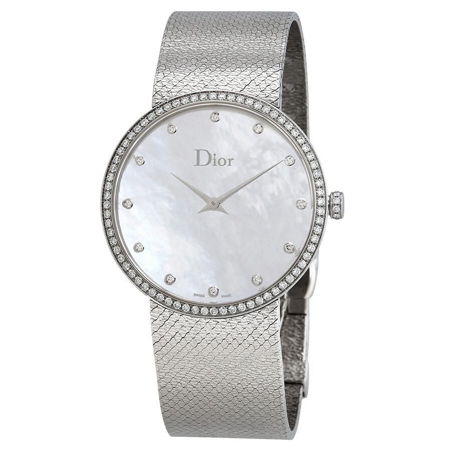 Dior Watches Jomashop Jam Tangan Alba 38mm Black La D De Mother Of Pearl Diamond Dial Ladies Watch