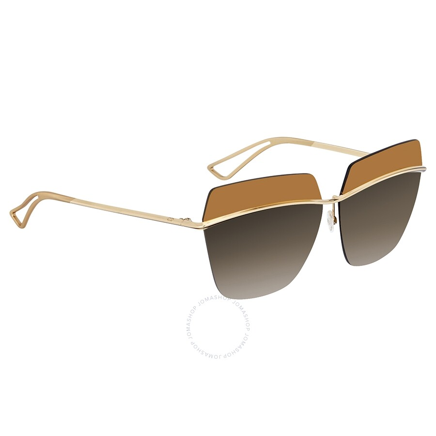 9008a8fa85603 Dior Metallic Brown Mirror Gradient Rectangular Ladies Sunglasses  DIORMETALLIC 000 63 ...