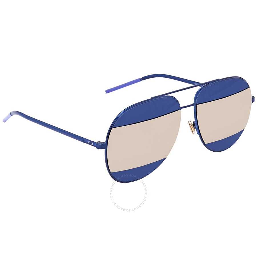 1bc5b39c82 Dior Split Blue Grey Aviator Unisex Sunglasses DIORSPLIT1 QAO UE 59 ...