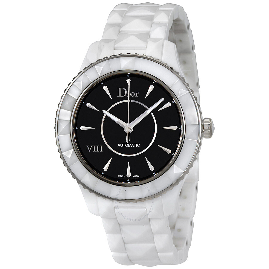 dior watches jomashop dior viii automatic black dial white ceramic ladies watch