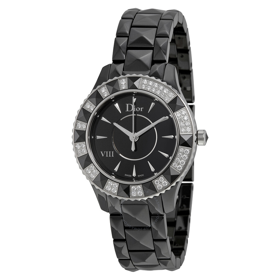 Dior viii diamond bezel black ceramic ladies watch 1231e1c001 dior watches jomashop for Black bezel watches