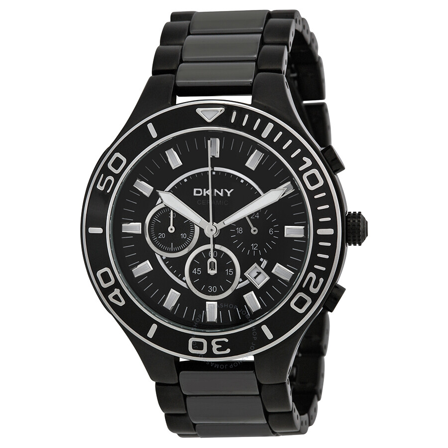 Dkny black chronograph dial ceramic men 39 s watch ny1490 dkny watches jomashop for Dkny watches