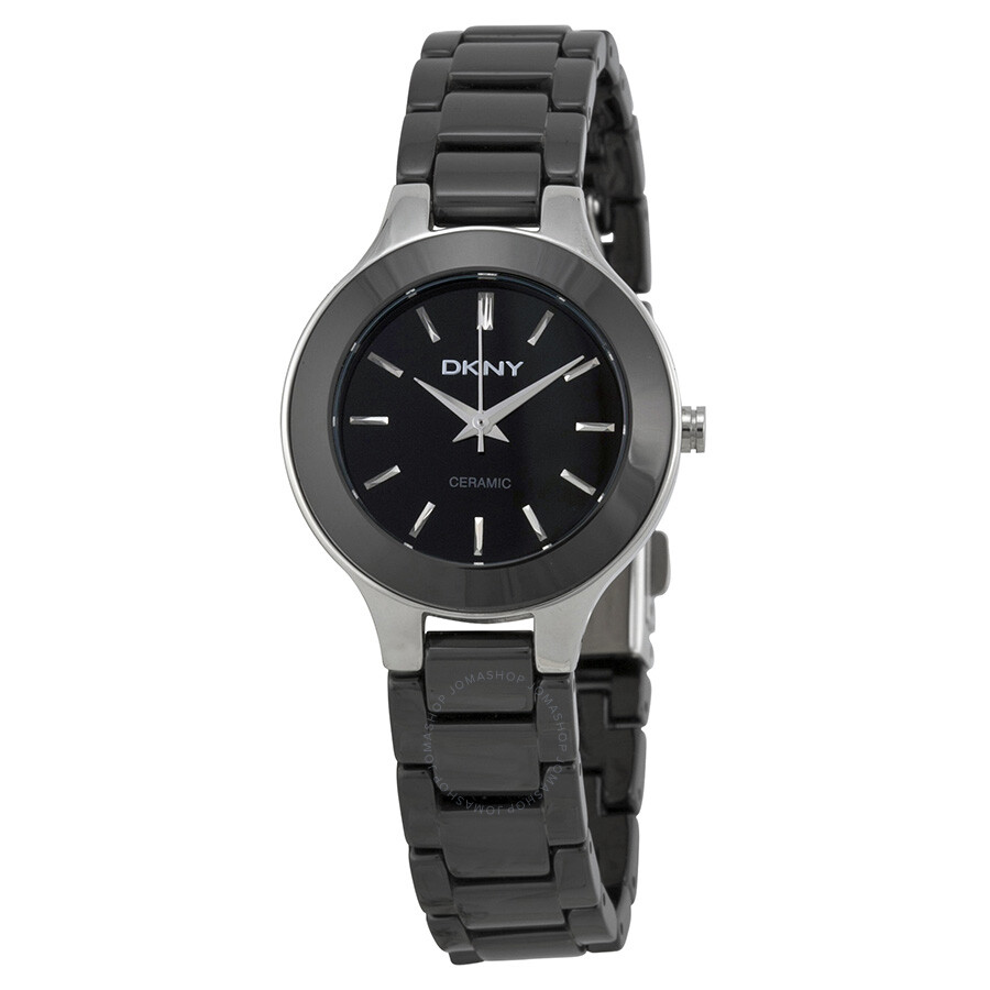 Dkny black dial black ceramic ladies watch ny4887 dkny watches jomashop for Dkny watches