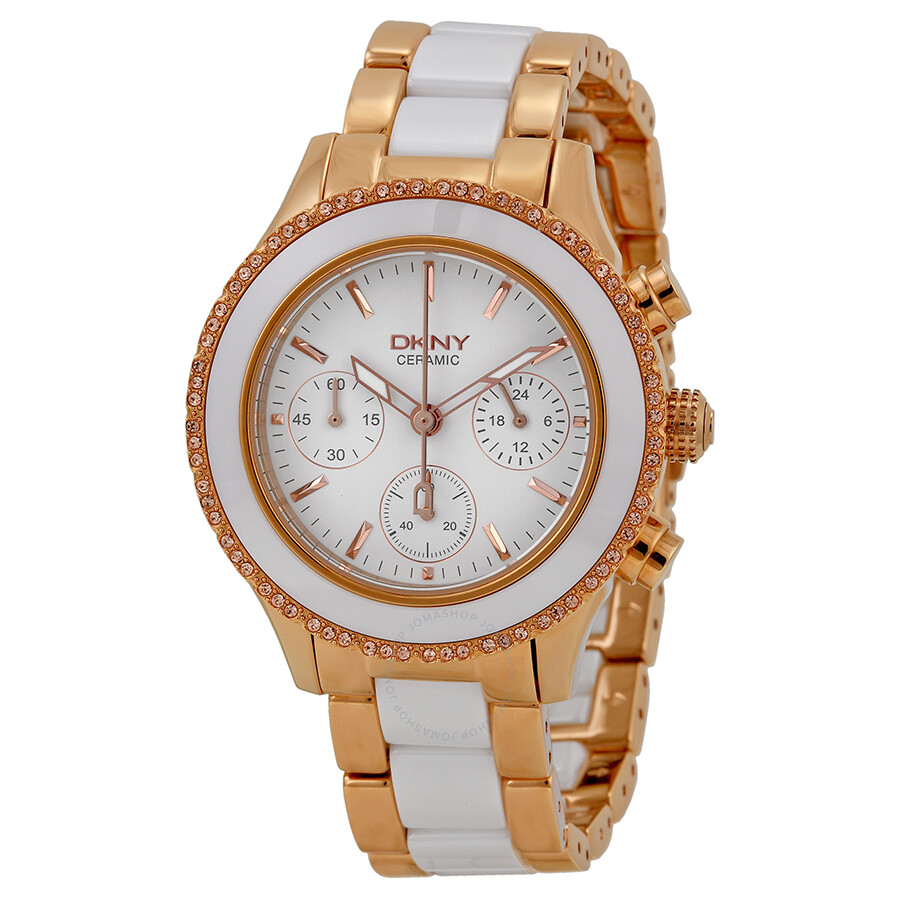 Dkny brooklyn white dial chronograph steel and ceramic ladies watch ny8825 dkny watches for Dkny watches