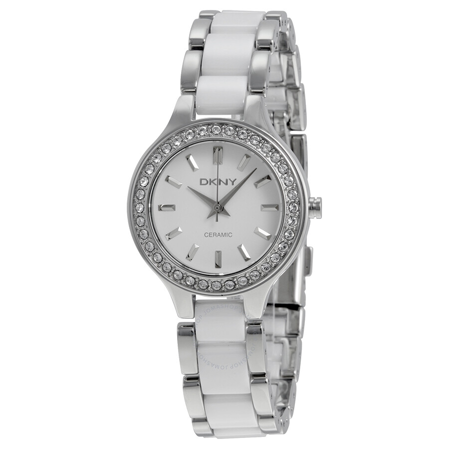 Dkny ceramica white dial ladies watch ny8139 dkny watches jomashop for Dkny watches