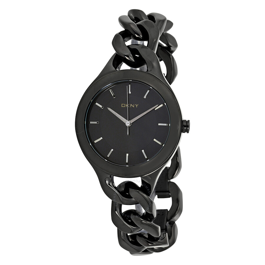 Dkny chambers black dial black chain bracelet ladies watch ny2219 dkny watches jomashop for Dkny watches