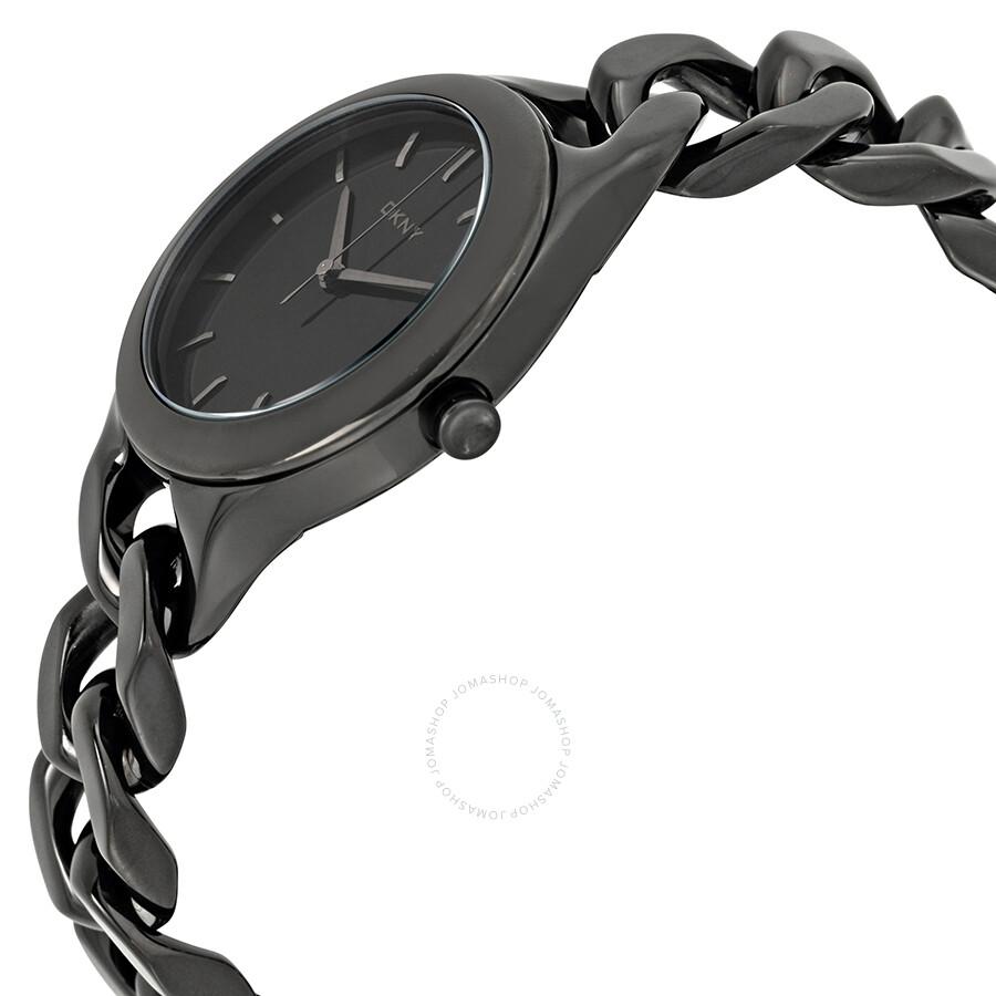 5d8f1c6fb07 ... DKNY Chambers Black Dial Black Chain Bracelet Ladies Watch NY2219 ...
