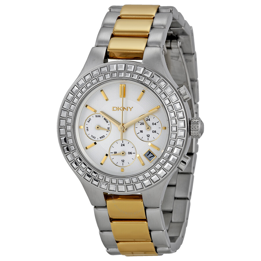 Dkny chambers chronograph white pearlized dial two tone ladies watch ny2260 dkny watches for Dkny watches