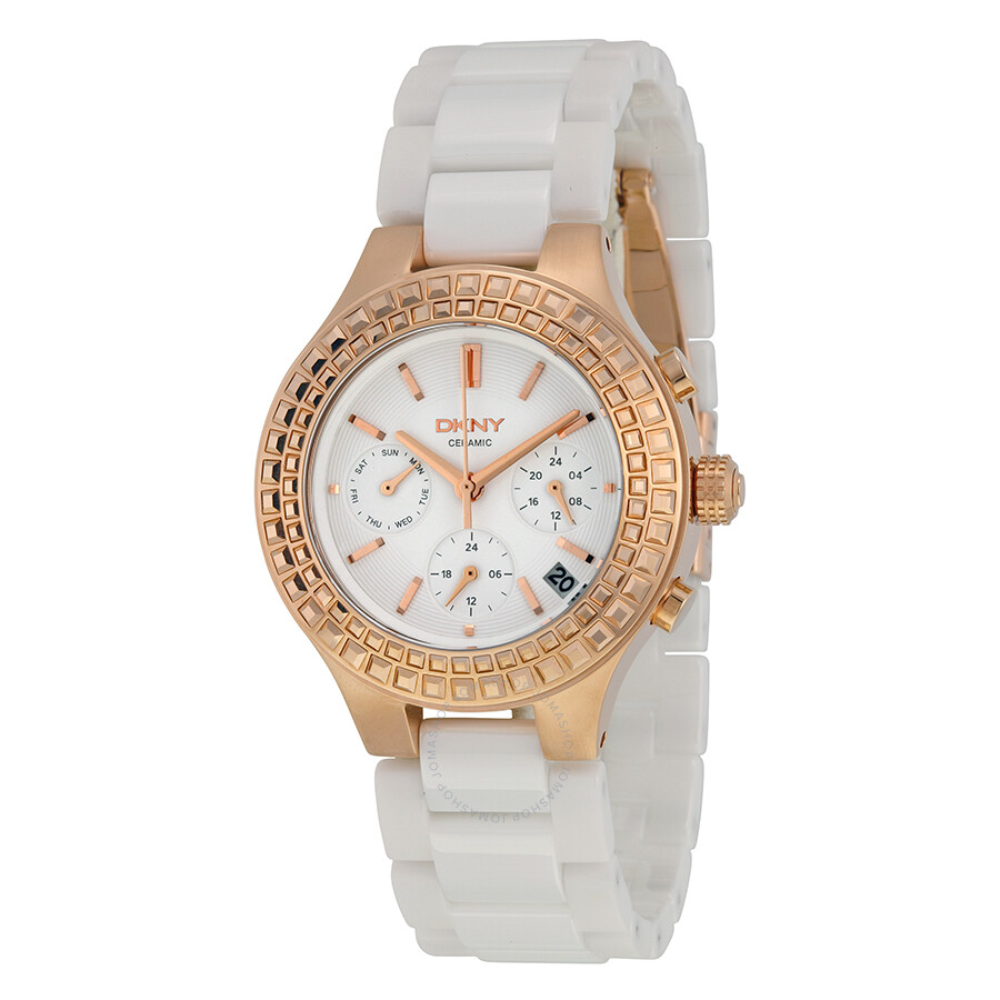 Dkny chambers multi function white dial white ceramic ladies watch ny2225 dkny watches for Dkny watches