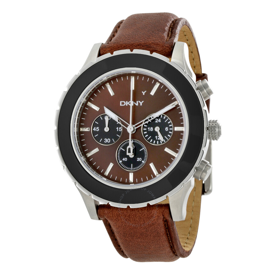 Dkny chronograph brown dial brown leather men 39 s watch ny1514 dkny watches jomashop for Dkny watches