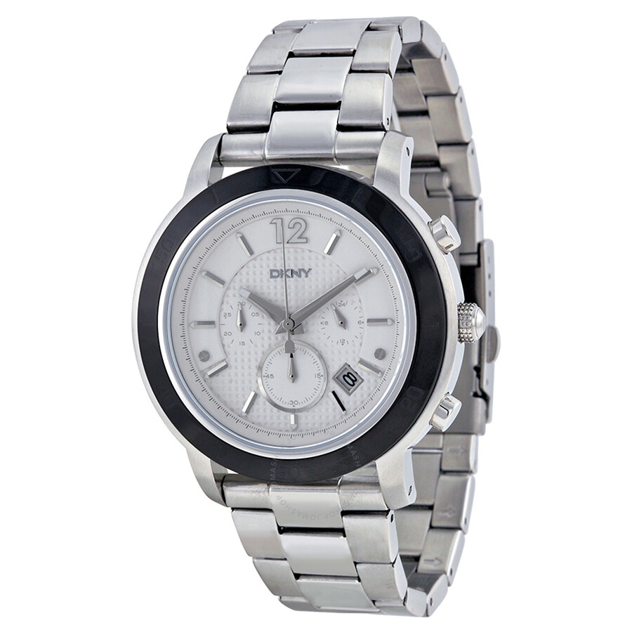 Dkny chronograph silver dial stainless steel men 39 s watch ny2165 dkny watches jomashop for Dkny watches