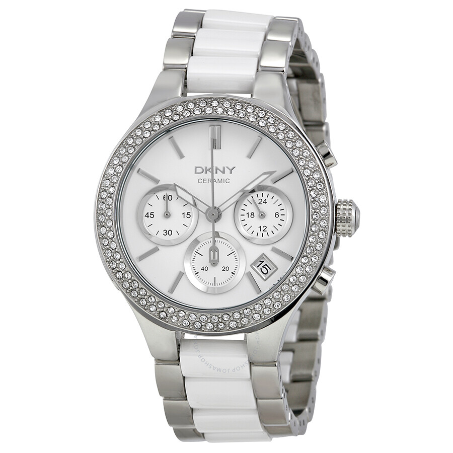 Dkny chronograph steel and white ceramic ladies watch ny8181 dkny watches jomashop for Dkny watches
