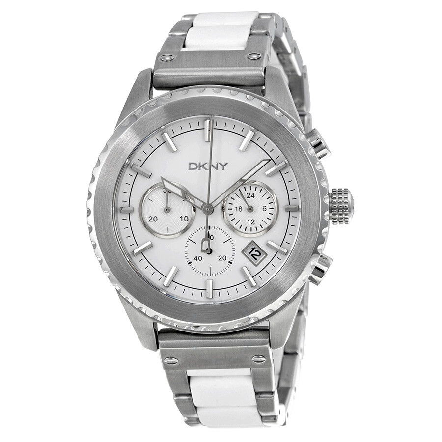 Dkny chronograph white dial stainless steel with white silicone men 39 s watch ny8764 dkny for Dkny watches