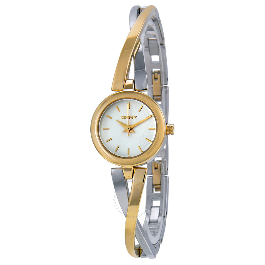 Dkny crosswalk white dial two tone bangle ladies watch ny2171 dkny watches jomashop for Ladies bangle watch