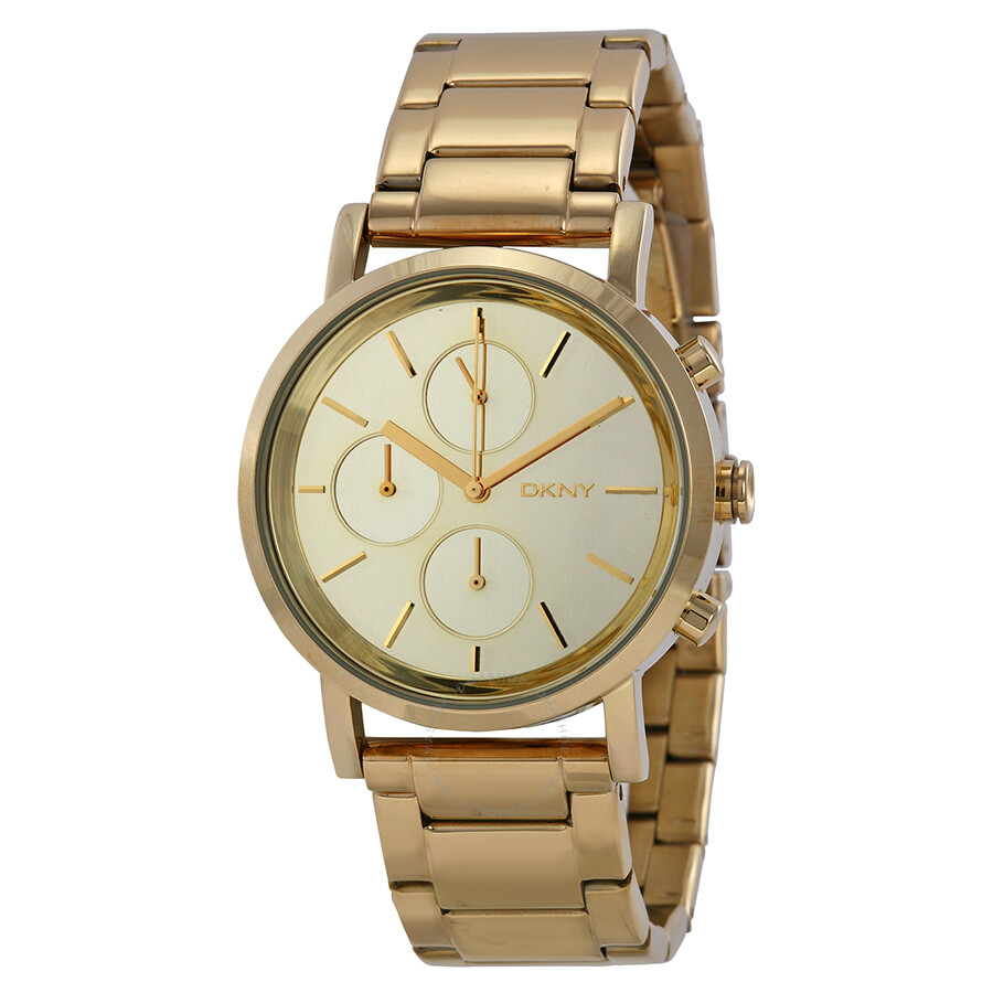 Dkny lexington chronograph gold mirror dial gold tone stainless steel ladies watch ny8861 dkny for Dkny watches