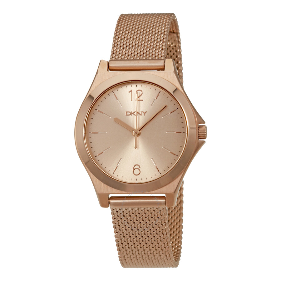 Dkny parsons rose dial gold tone ladies watch ny2489 dkny watches jomashop for Dkny watches