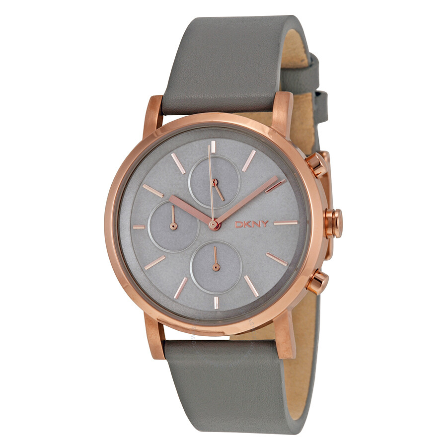 Dkny soho chronograph gray leather strap ladies watch ny2338 dkny watches jomashop for Dkny watches