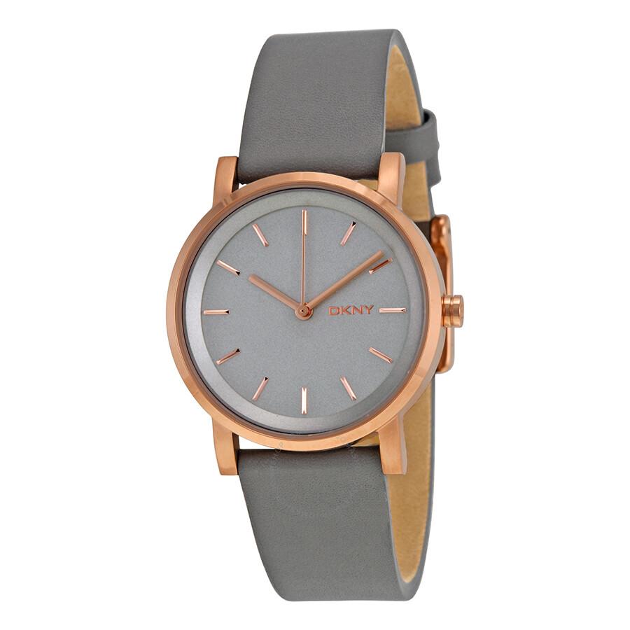 5d15f81ce6f DKNY Soho Gray Pearlized Dial Gray Leather Ladies Watch NY2341 ...