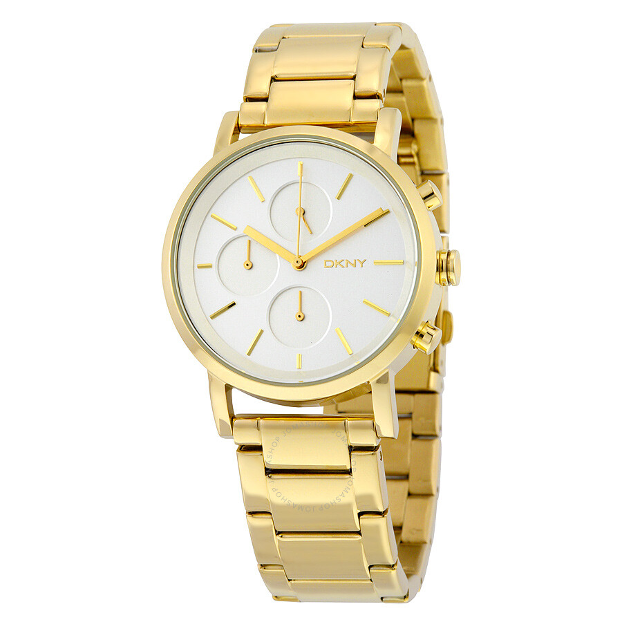Dkny soho silver dial gold tone ladies watch ny2274 dkny watches jomashop for Dkny watches