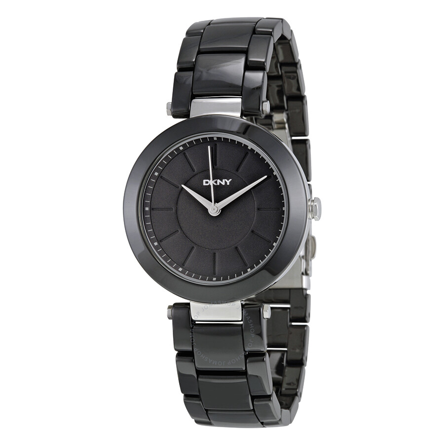 Dkny stanhope black dial black ceramic ladies watch ny2292 dkny watches jomashop for Dkny watches