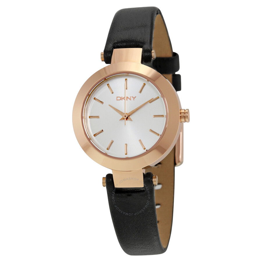Dkny stanhope silver dial black leather ladies casual watch ny2458 dkny watches jomashop for Dkny watches