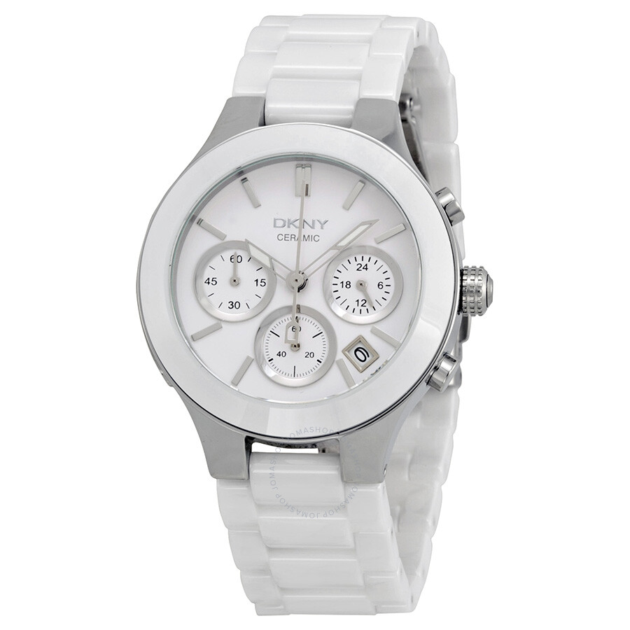 Dkny white dial chronograph white ceramic ladies watch ny4912 dkny watches jomashop for Dkny watches