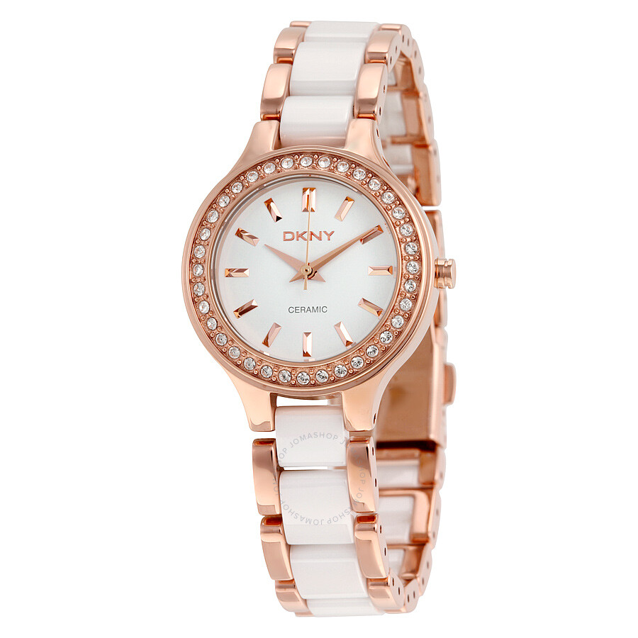 DKNY White Dial Rose Gold Steel and White Ceramic Ladies ...