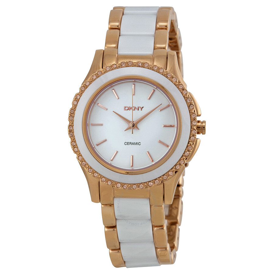 DKNY White Dial Rose Gold-tone White Ceramic Ladies Watch ...