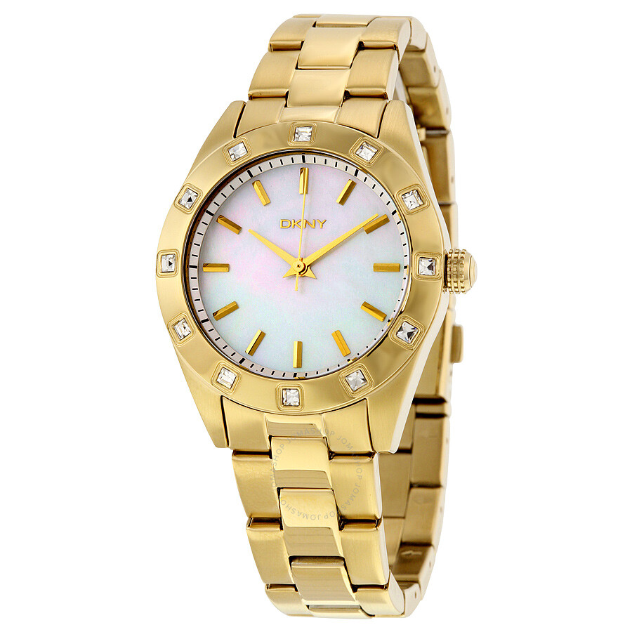 DKNY White Mother of Pearl Dial Ladies Watch NY8661
