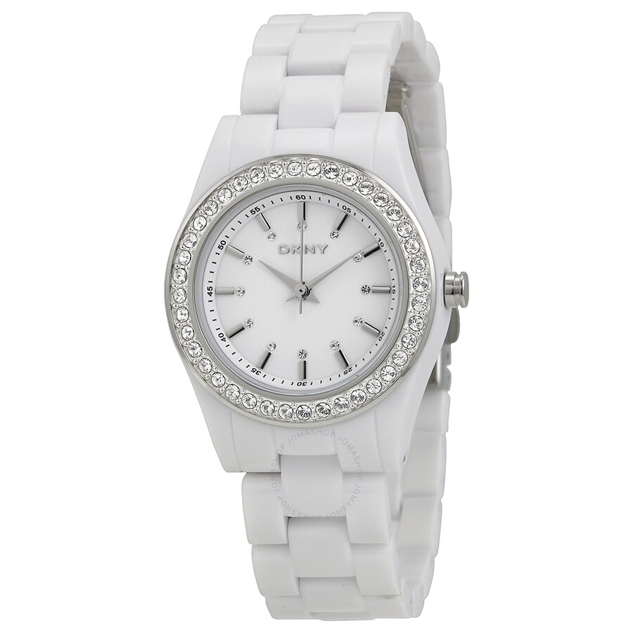 Dkny white plastic ladies watch ny8145 dkny watches jomashop for Dkny watches