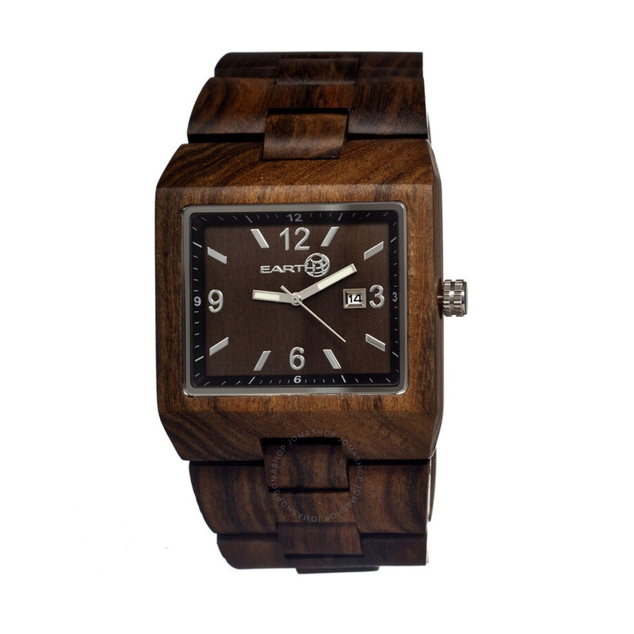 Wooden Watches for Men: Dark Sandalwood Bamboo Watch w/ Wood Case, Expresso Brown Genuine Cowhide Leather Strap, Japanese Analog Quartz Movement, Water Resistant, Unique, Minimalist & .