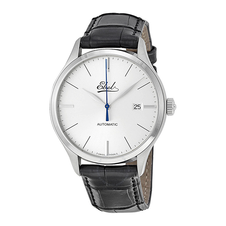 ebel automatic silver black leather s