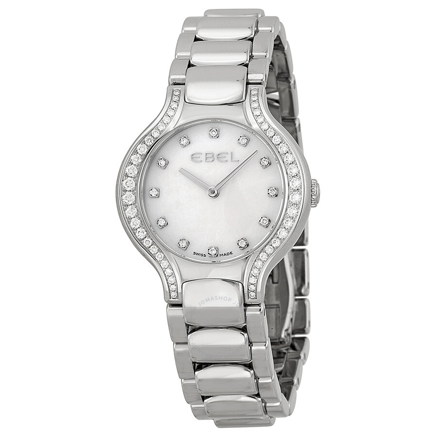 Ebel new beluga white mother of pearl diamond dial ladies watch 1215855 beluga ebel for Mother of pearl dial watch