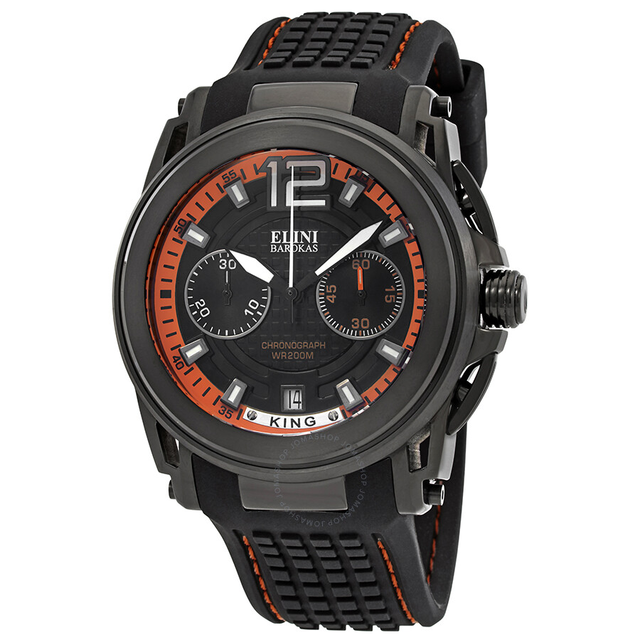 Elini Barokas King Chronograph Black Dial Men's Watch ELINI-20014-BB-01- ...
