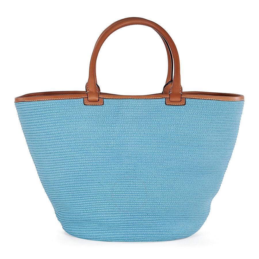 Emilio Pucci Mid-Sized Woven Raffia Tote Handbag in Powder Blue ...
