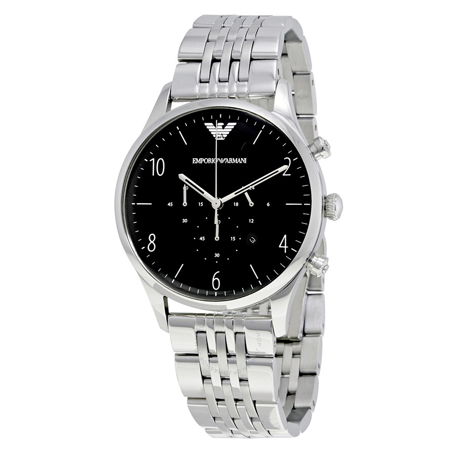 2f977585 Emporio Armani Beta Chronograph Black Dial Stainless Steel Men's Watch  AR1863
