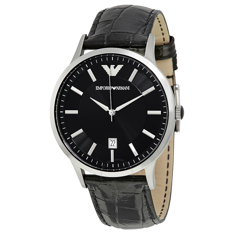 emporio armani black dial black leather men 39 s watch ar2411 emporio armani watches jomashop