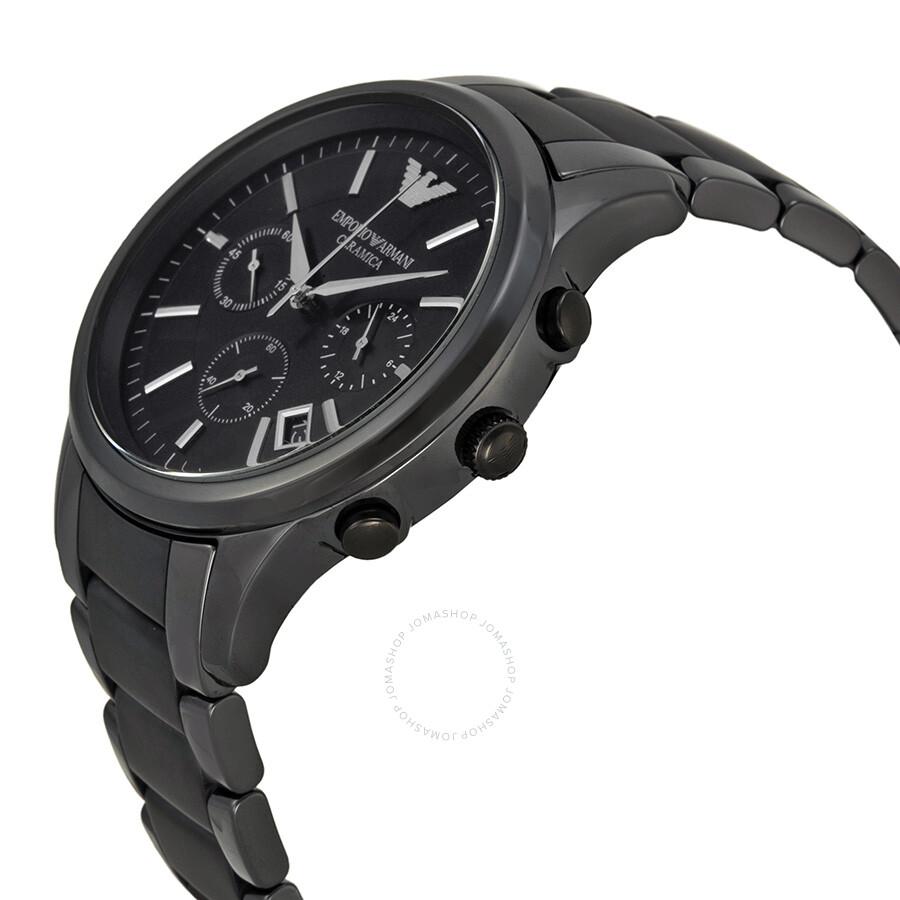 Emporio armani ceramica chronograph black dial black ceramic men 39 s watch ar1452 emporio armani for Ceramica chronograph