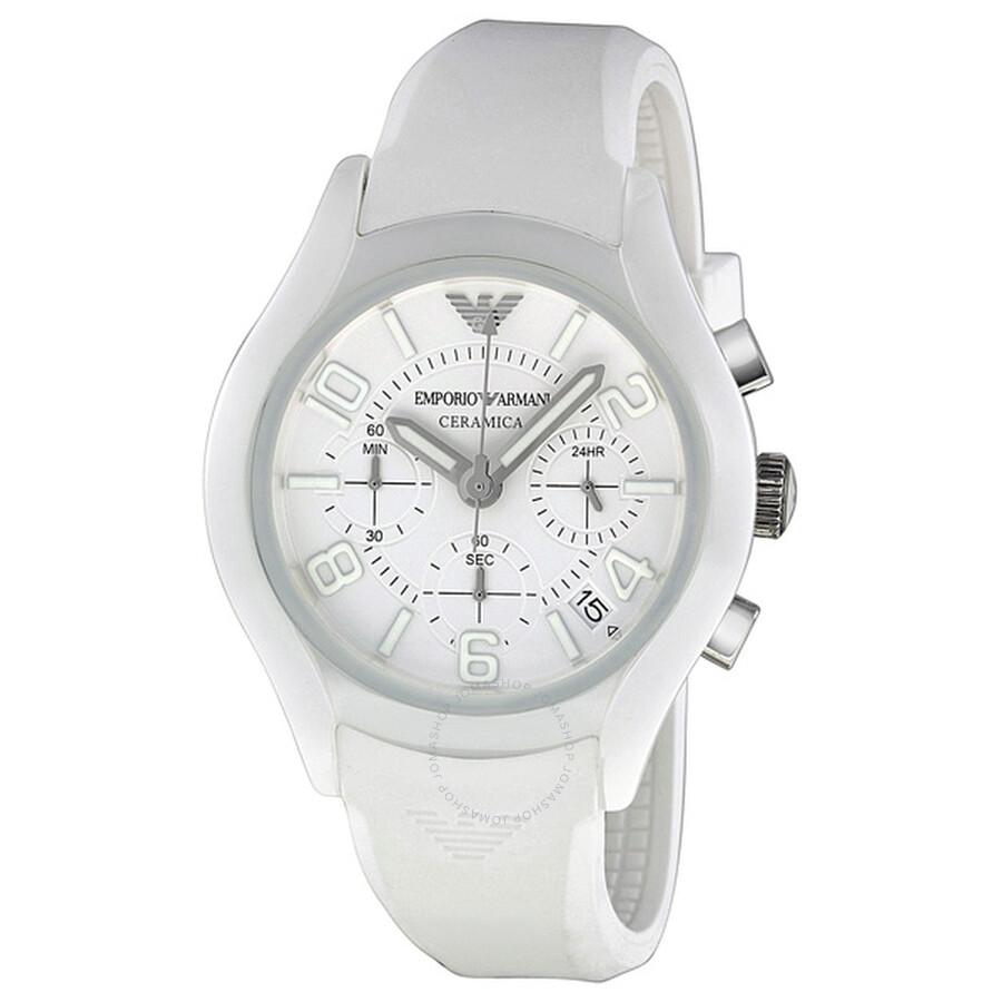 Emporio armani ceramica chronograph white dial men 39 s watch ar1431 emporio armani watches for Ceramica chronograph