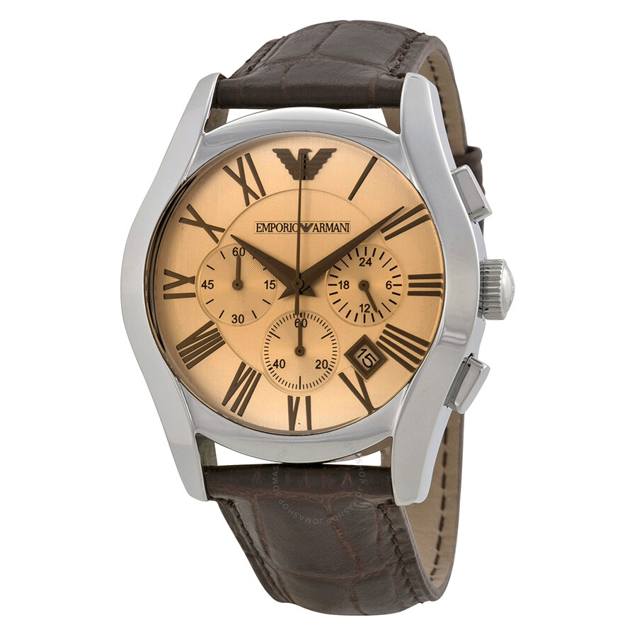 c2bfe32c Emporio Armani Chronograph Amber Dial Brown Leather Men's Watch AR1634