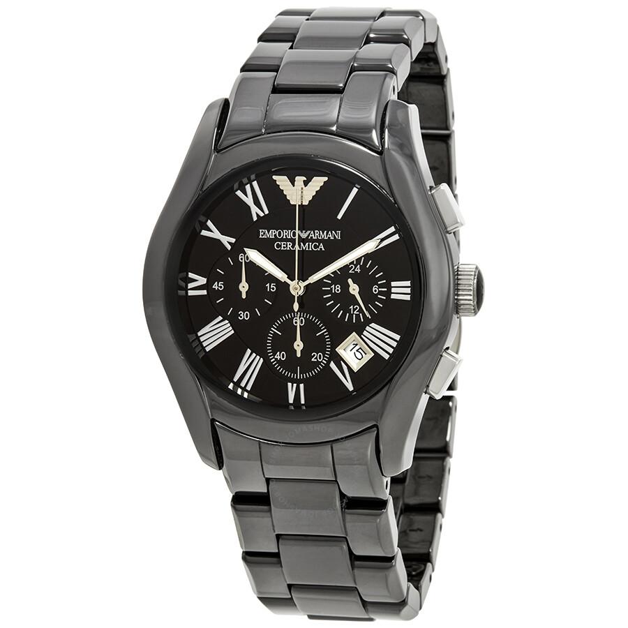 e5e83fb1678 Emporio Armani Chronograph Black Dial Black Ceramic Men s Watch AR1400 ...