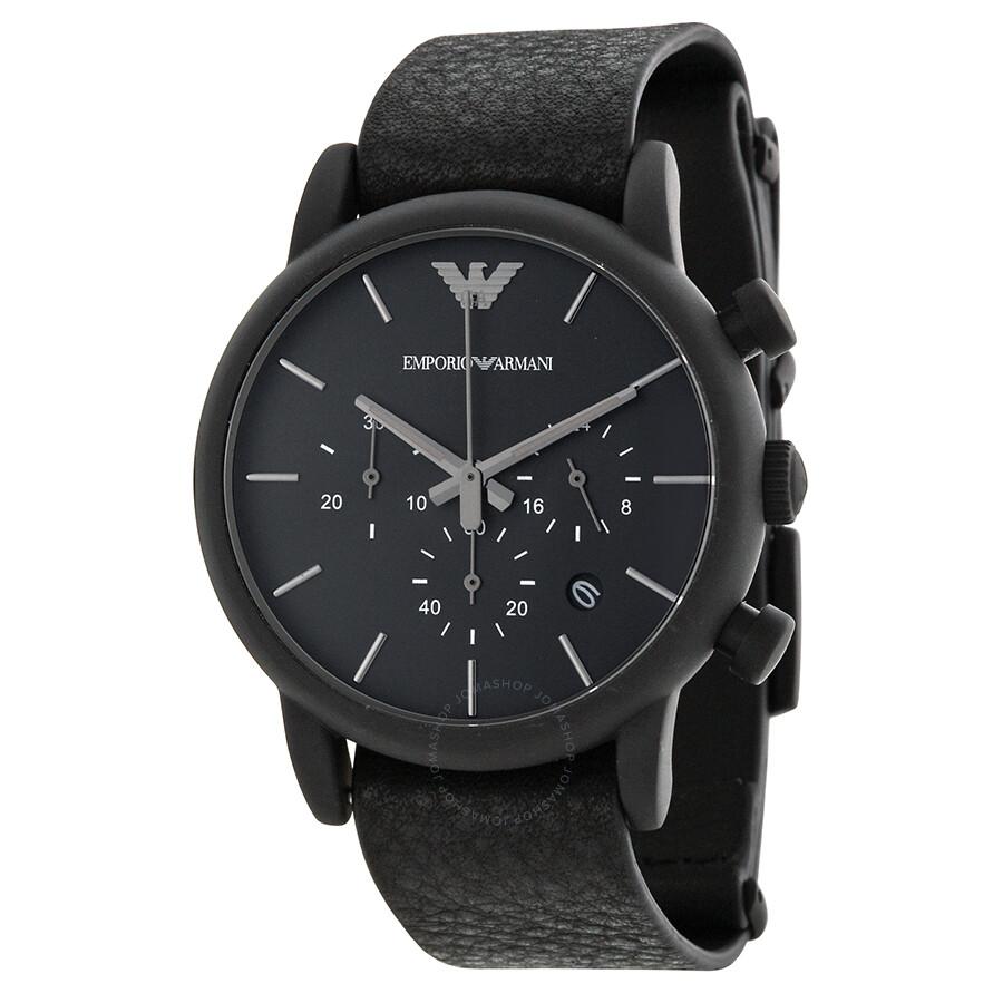emporio armani chronograph black dial black leather men 39 s. Black Bedroom Furniture Sets. Home Design Ideas