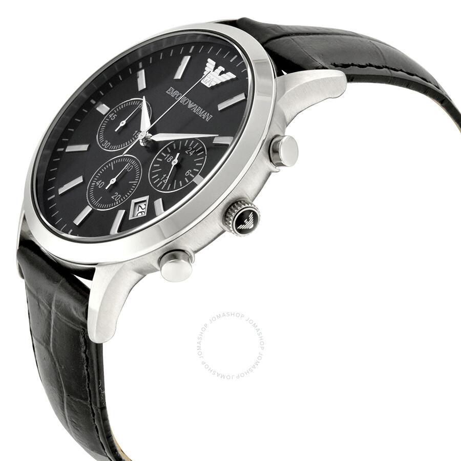 emporio armani chronograph black dial men 39 s watch ar2447. Black Bedroom Furniture Sets. Home Design Ideas