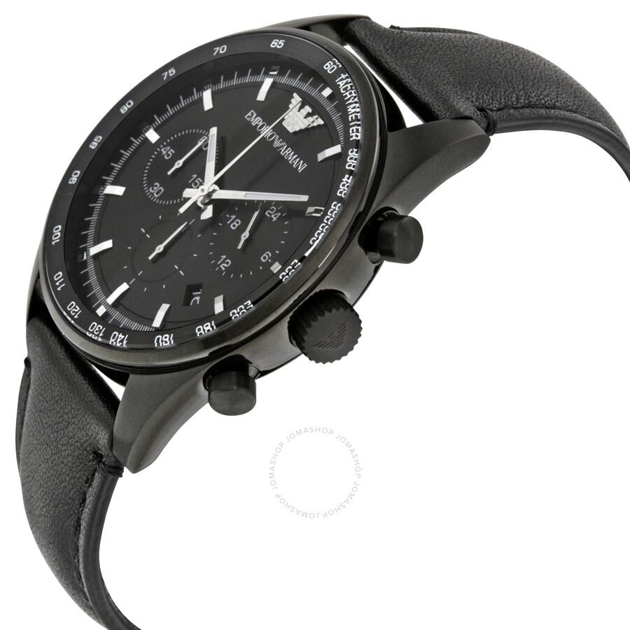 emporio armani chronograph black dial men 39 s watch ar6093. Black Bedroom Furniture Sets. Home Design Ideas