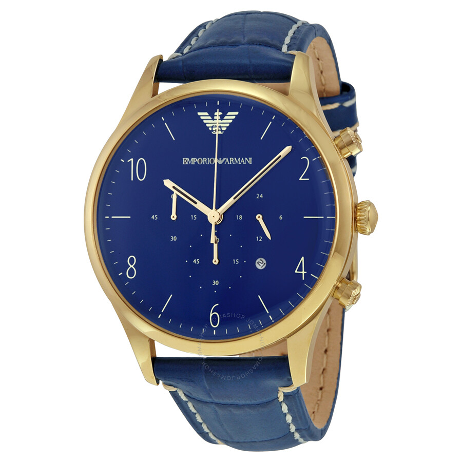 emporio armani chronograph blue blue leather s