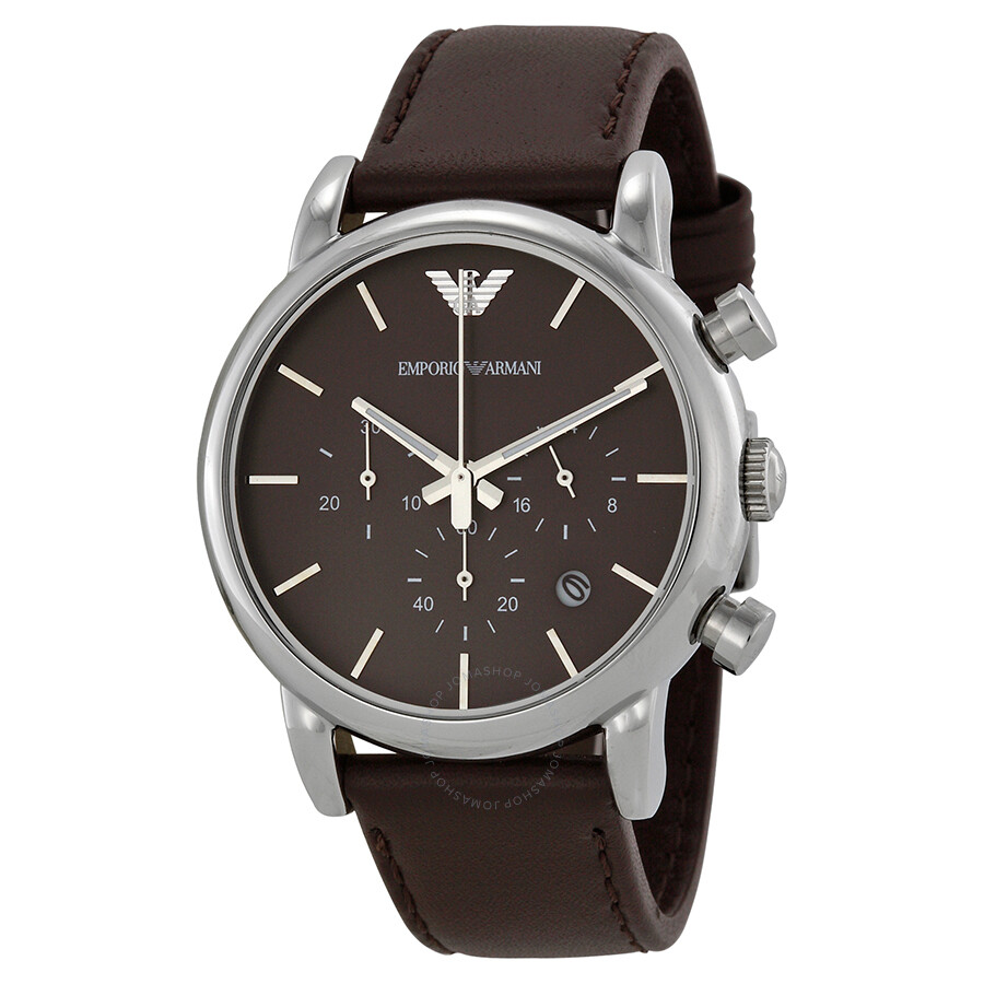 d23cc388 Emporio Armani Chronograph Brown Dial Brown Leather Strap Men's Watch AR1734