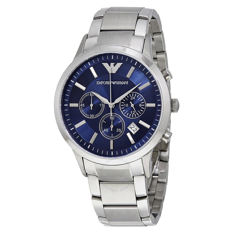 emporio armani chronograph navy blue dial steel bracelet. Black Bedroom Furniture Sets. Home Design Ideas