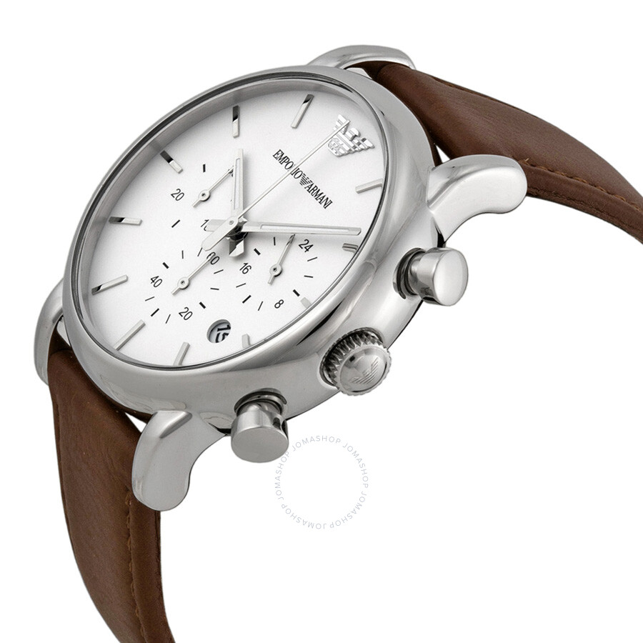 27f1e1ff0 ... Emporio Armani Chronograph White Dial Brown Leather Men's Watch AR1846  ...
